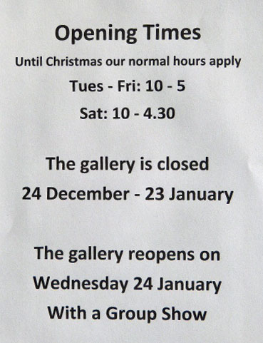 OPENING TIMES - SEE ABOVE