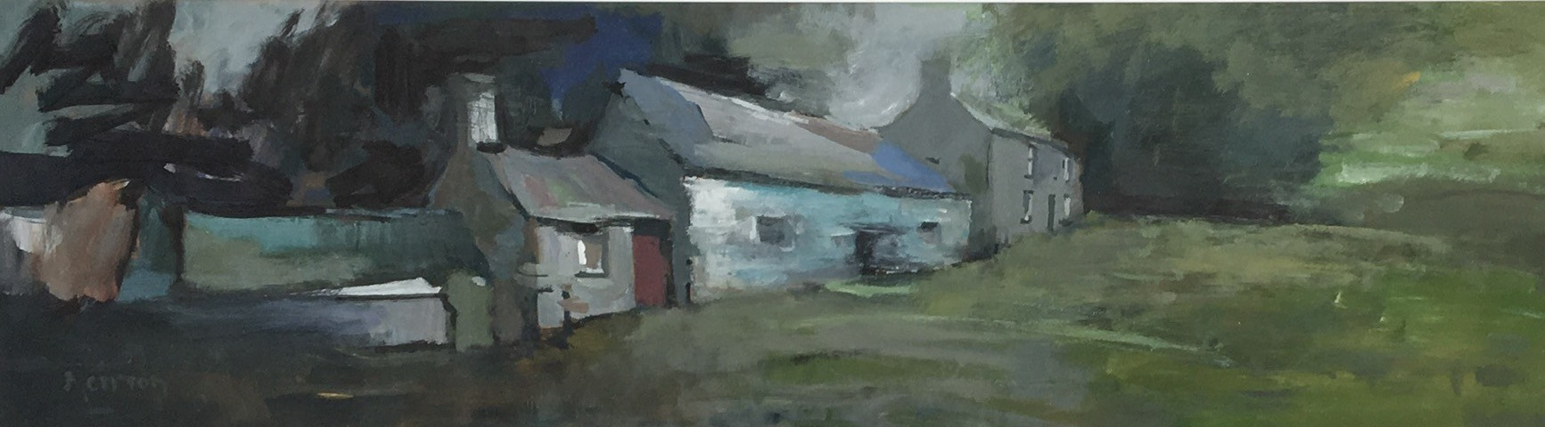 """Mierion Jones """"A Ceredigion Farm"""", Acrylic, (90 x 25 cm)"""