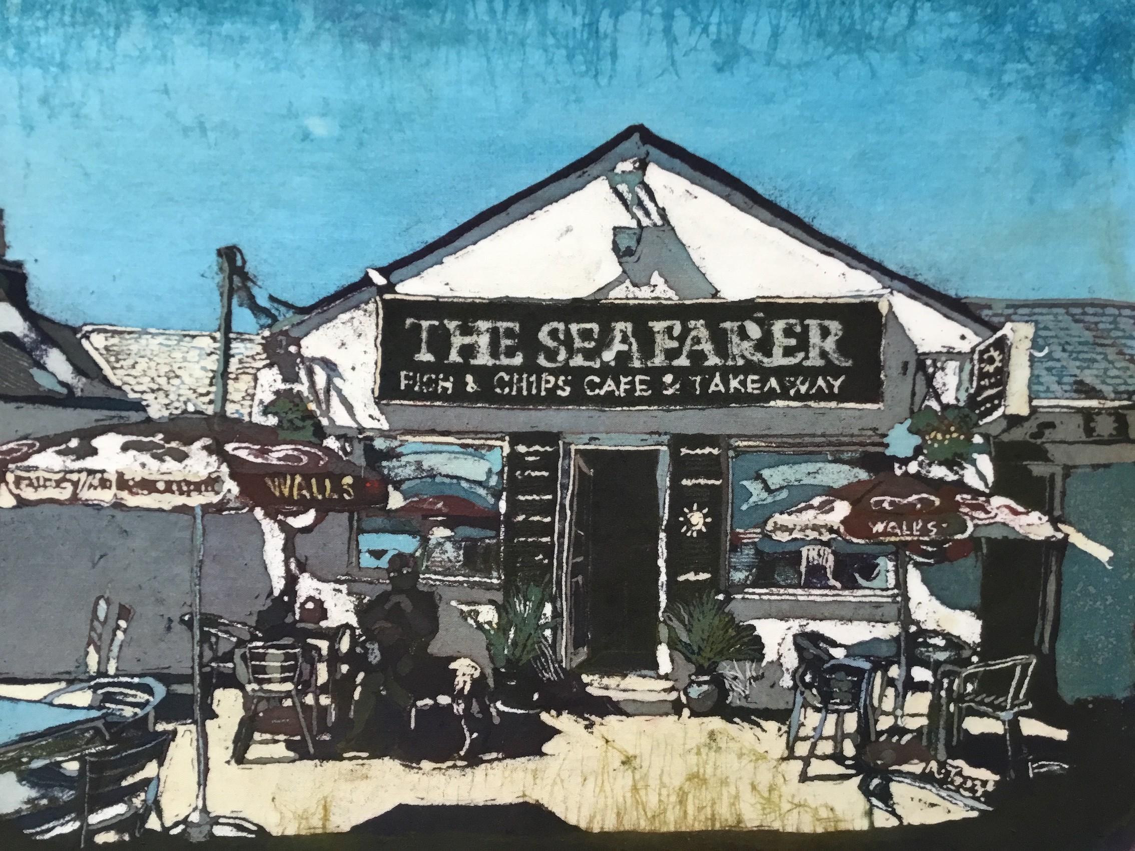 19: Rhona Tooze 'Seafarer Cafe Port Eynon' (23 x 30 CM) Batik