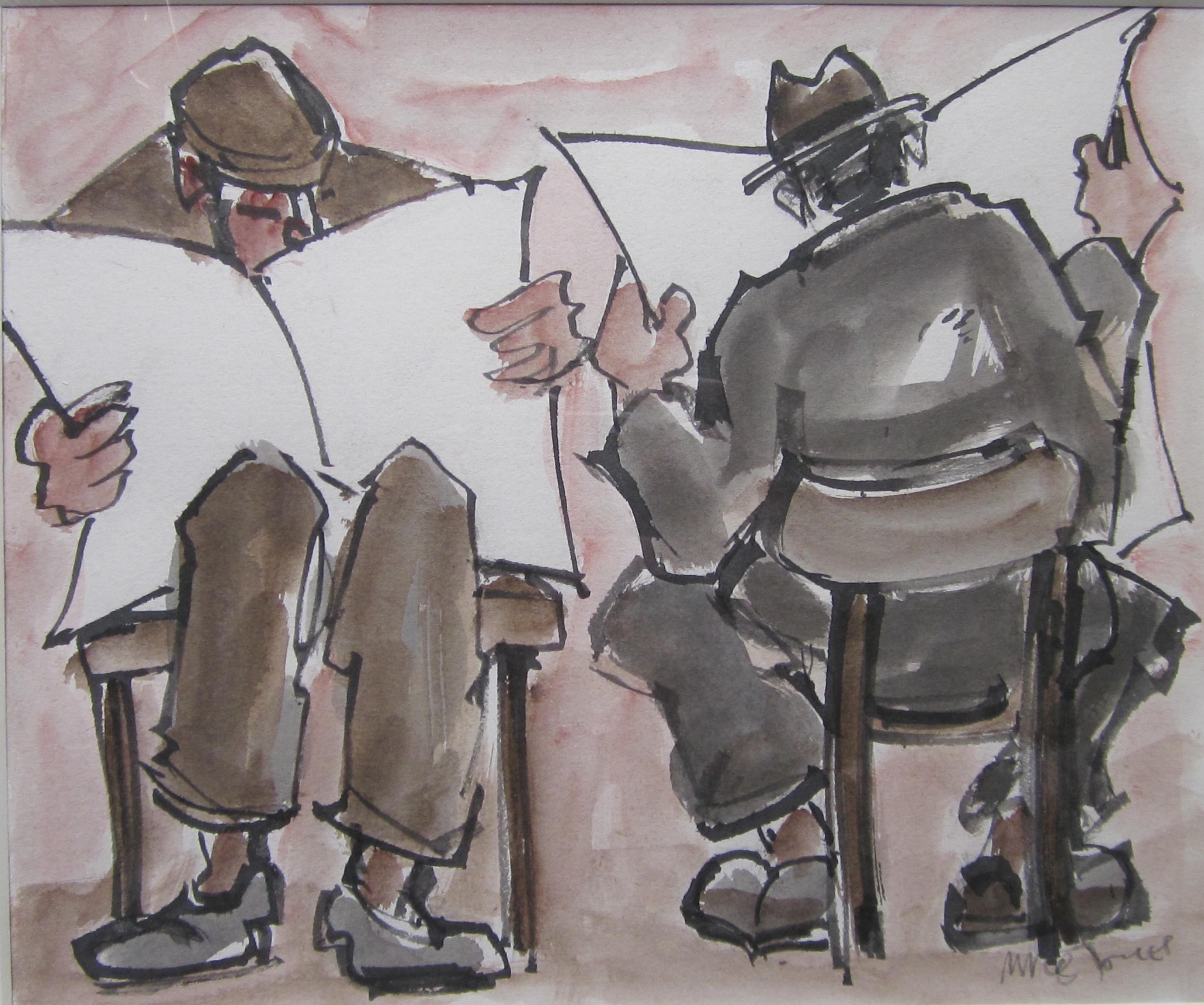 (xii) Men reading. 10 x 12 ins. Ink and wash. £495