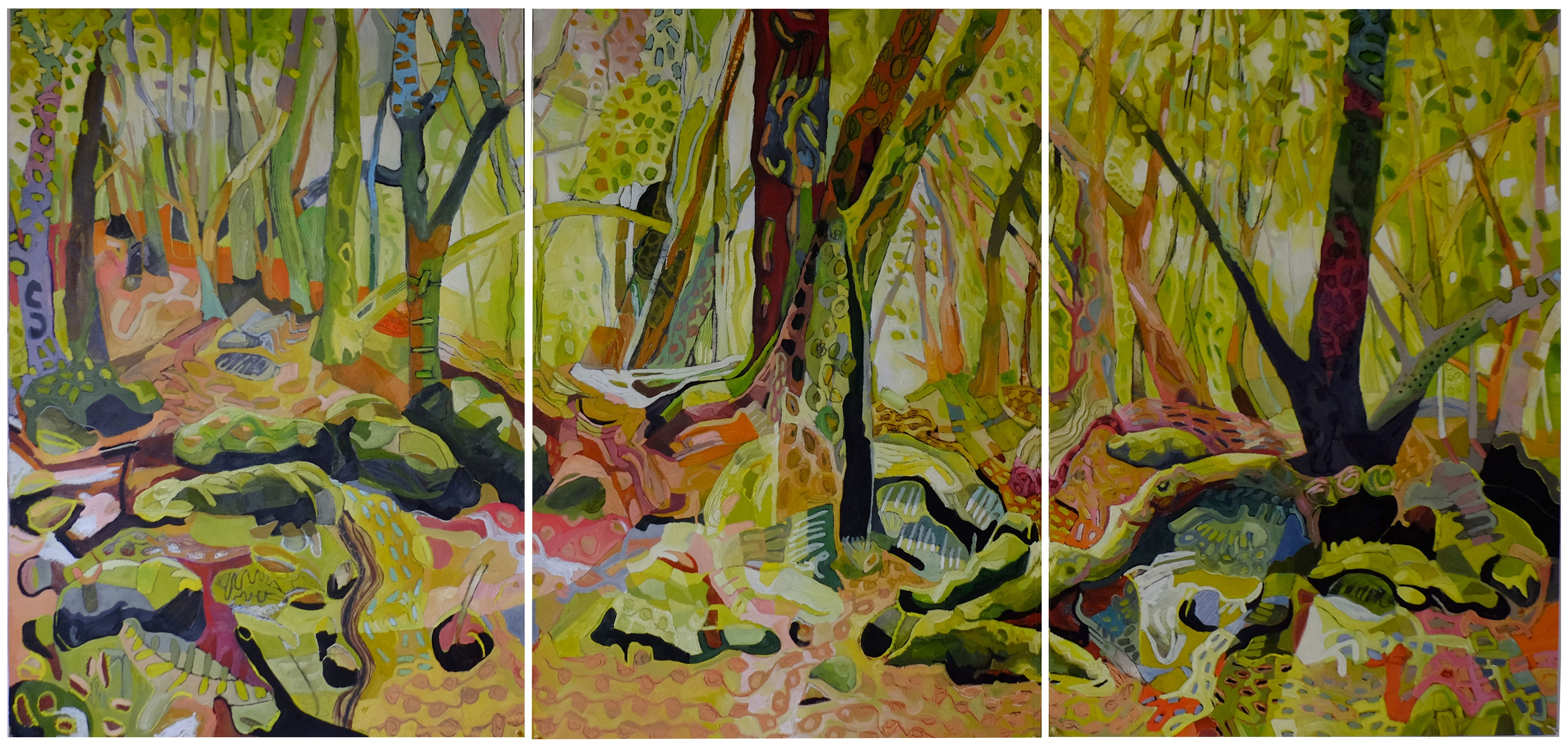 (100cm x 210cm Total size of all three)   oil on paper