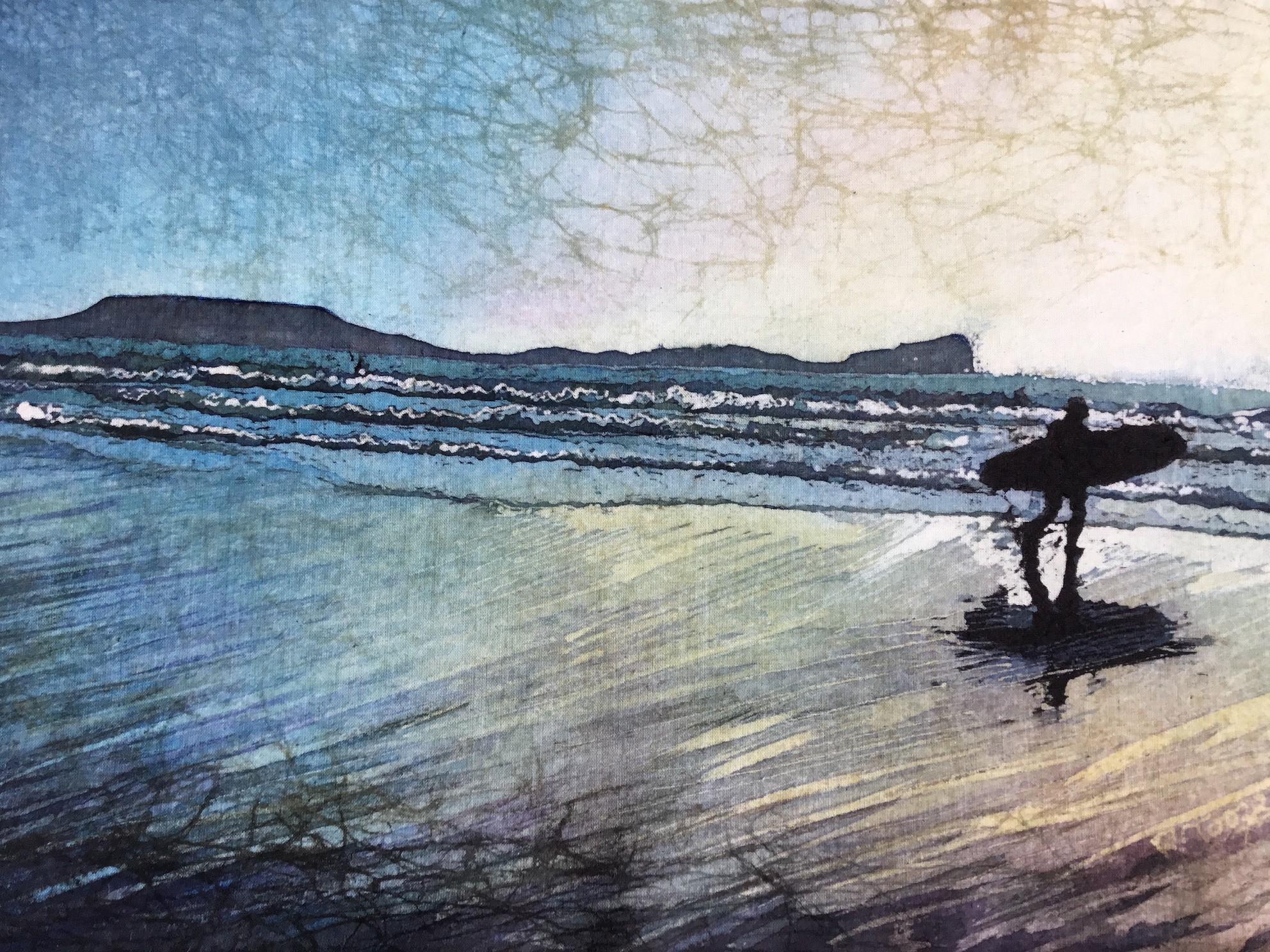 20: Rhona Tooze 'Surfer at Llangennith' (21 x 40 CM) Batik