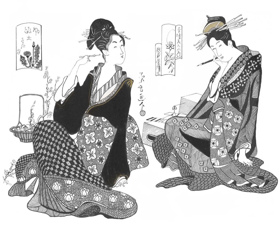Japanese Series VIII    Pen & Ink    25 x 28 cm  (40 x 45 cm framed) Black frame    Off-white mount