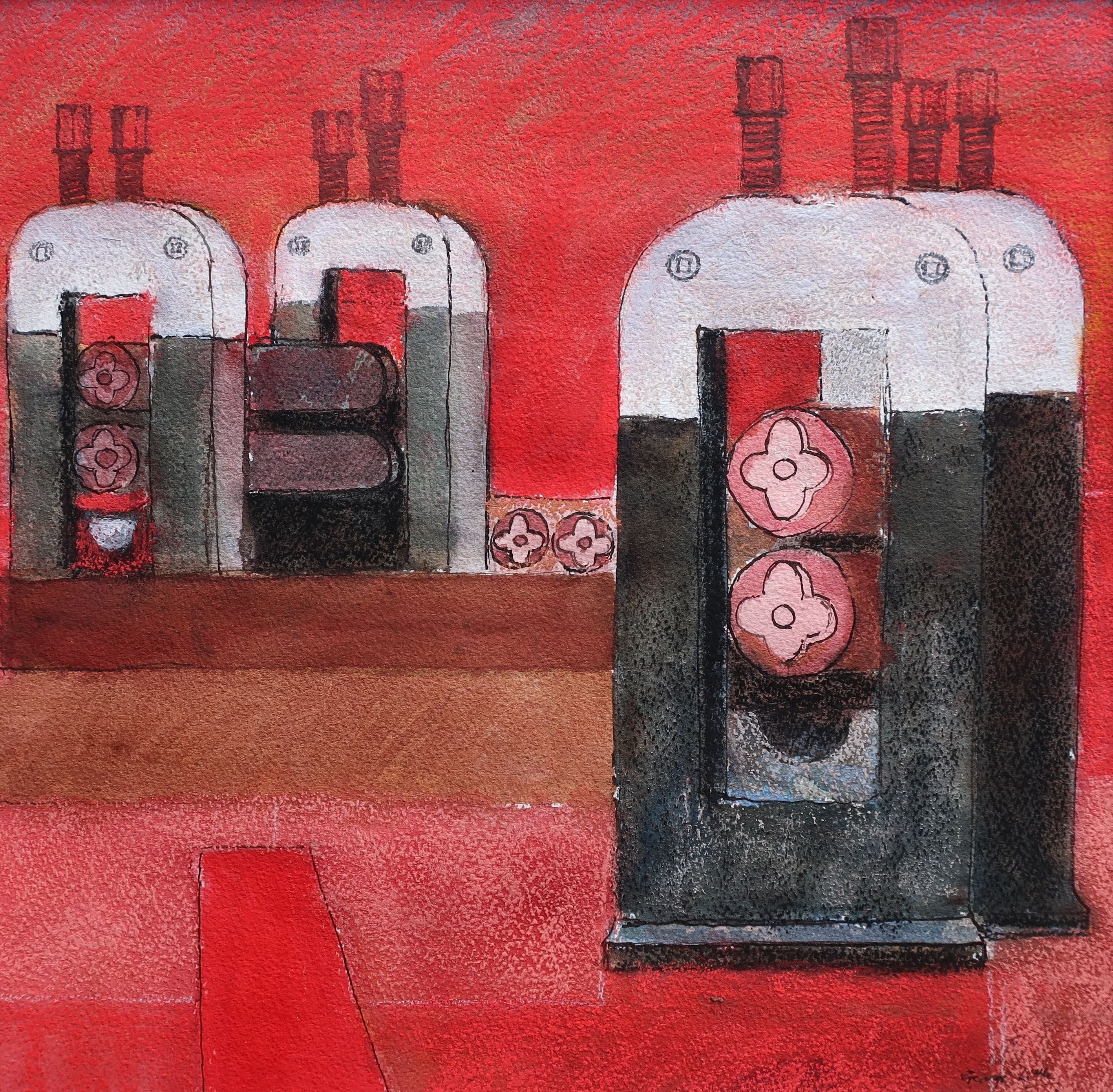 """George Little """"Rolling mills-red pastel & ink 2013"""""""