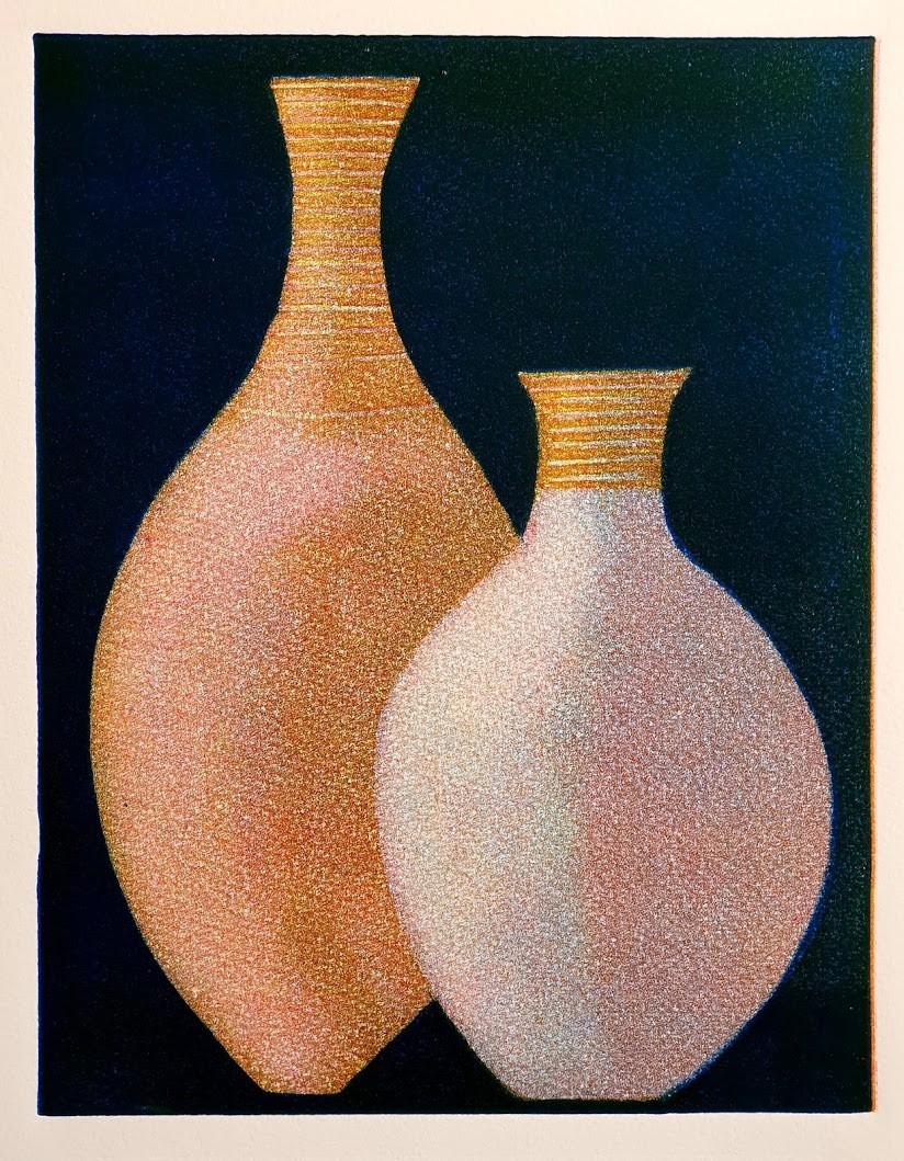 """Two Pots"" Original Print Monoprint (21 X 26 CM)"