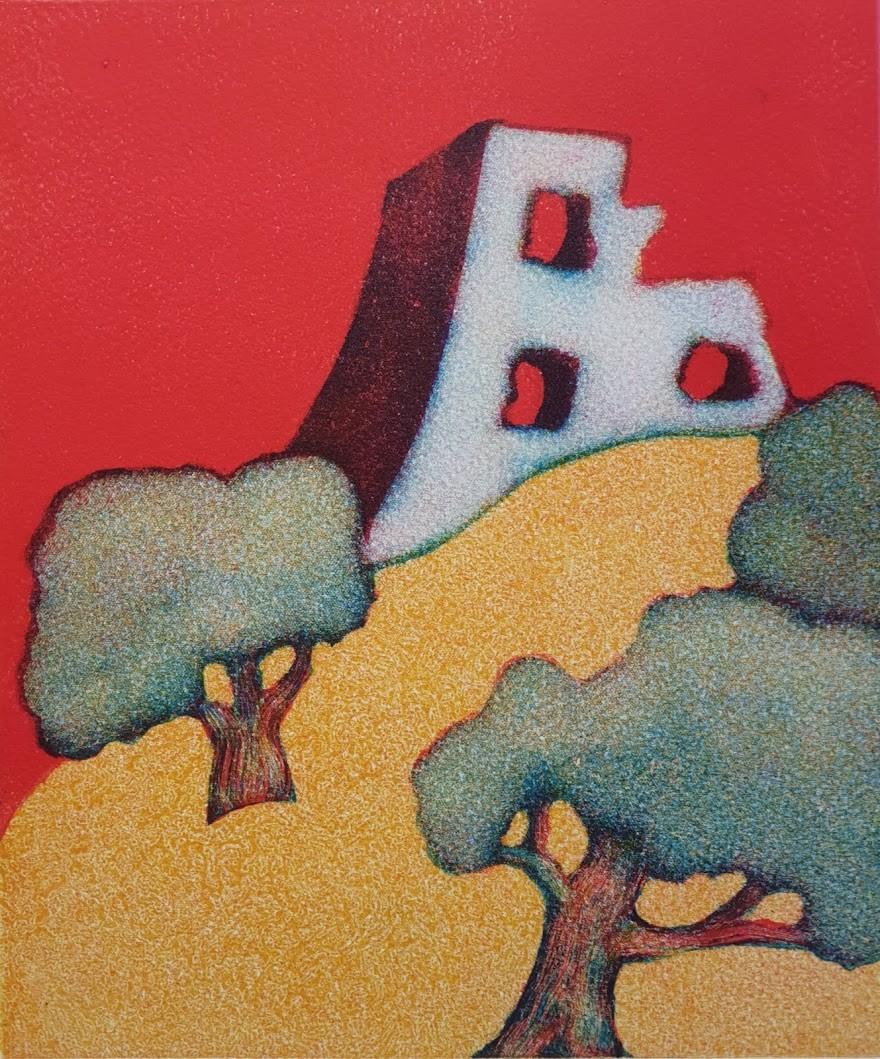 """""""Castell y Dryslwyn"""" Monotype (22 x 26 CM)"""