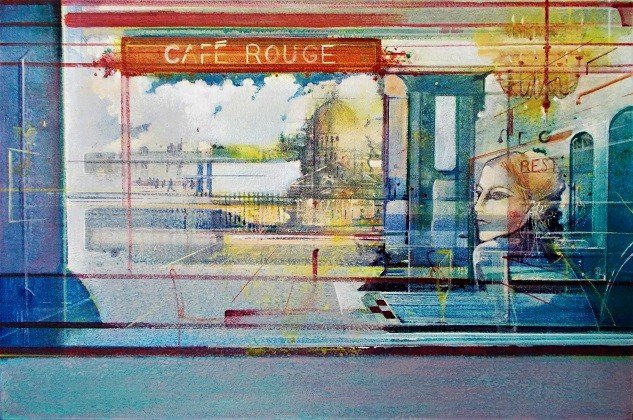Cafe Rouge   Acrylic on Canvas   16 x 24 ins