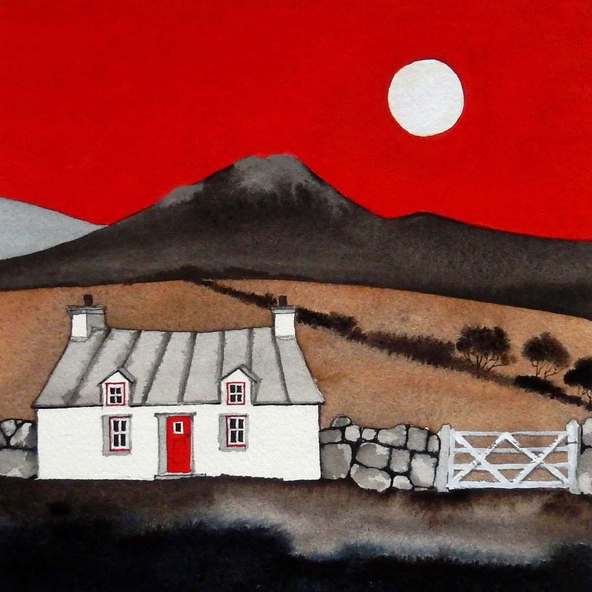 """Alice Tennant 'Cottage and Full Moon' (14"""" x 14"""") Mixed media"""