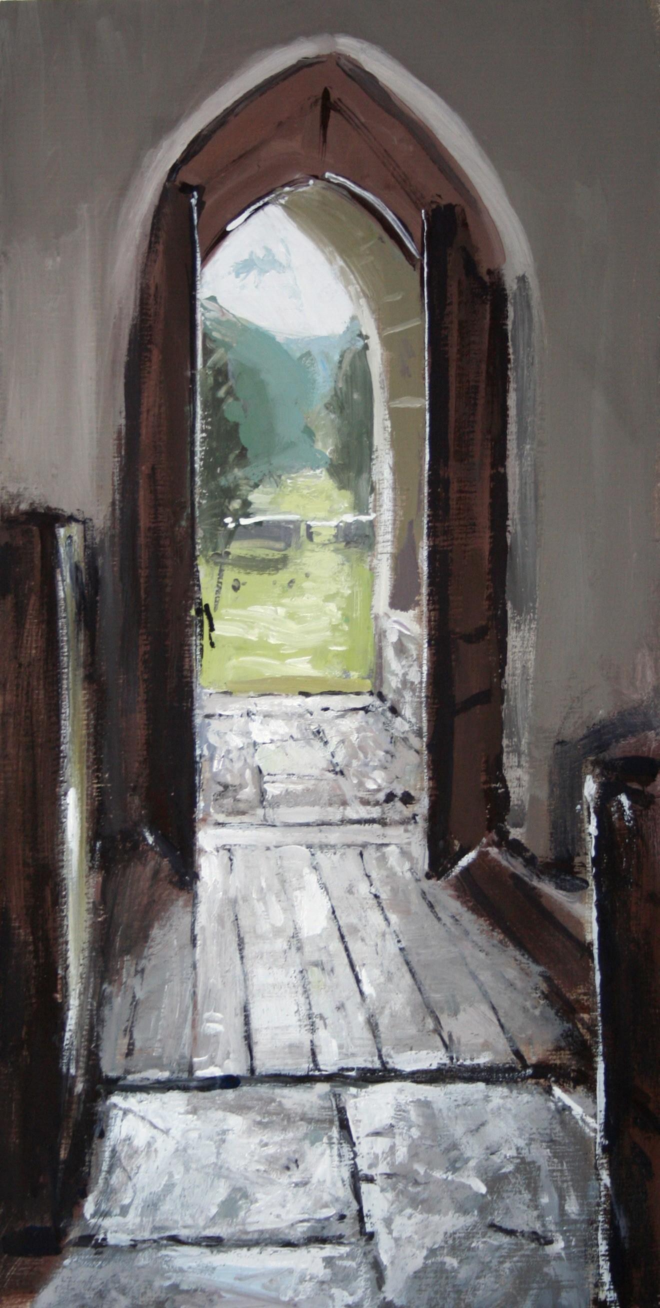 "Matthew Wood ""Diserth,St Cewydd, view through the door"" Gaouche on Board (25 x 12.5 cm)"