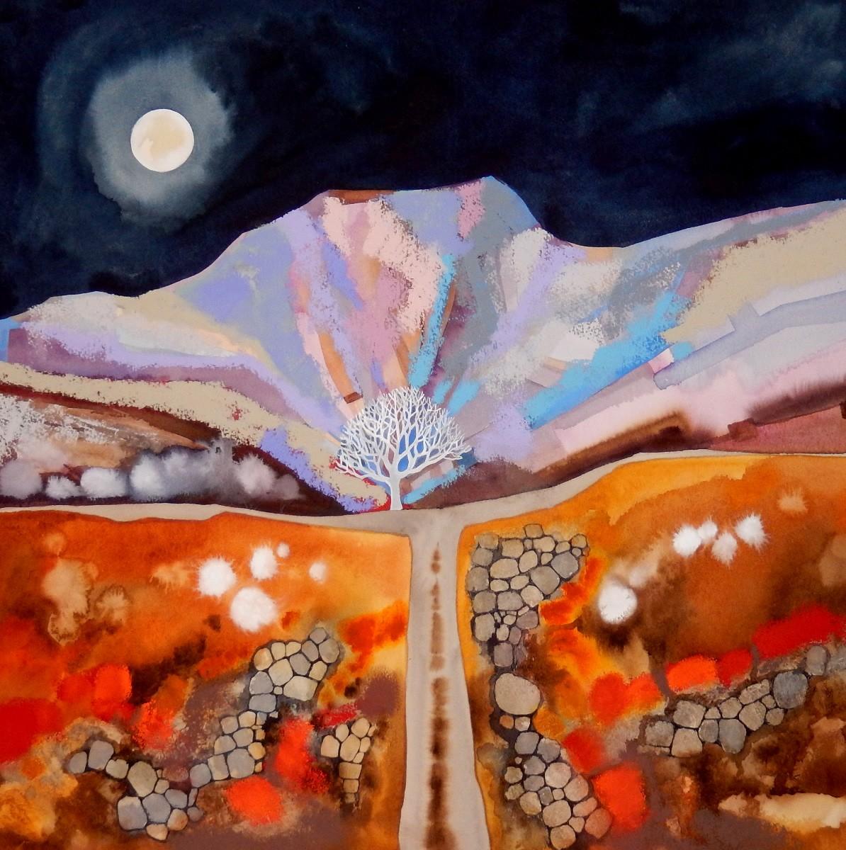 2: Alice Tennant 'Full Moon , Cwm Cerywyn' (53 x 63) Mixed media