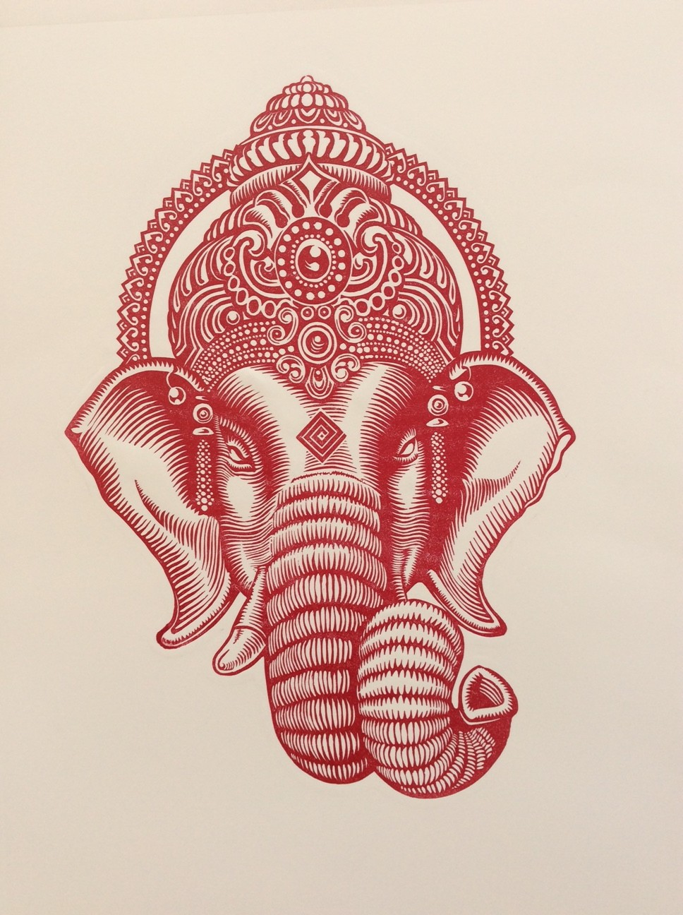 """Ganesh God of Beginning"" 1/30 Limited Edition print Linocut (29 x 40 cm)"