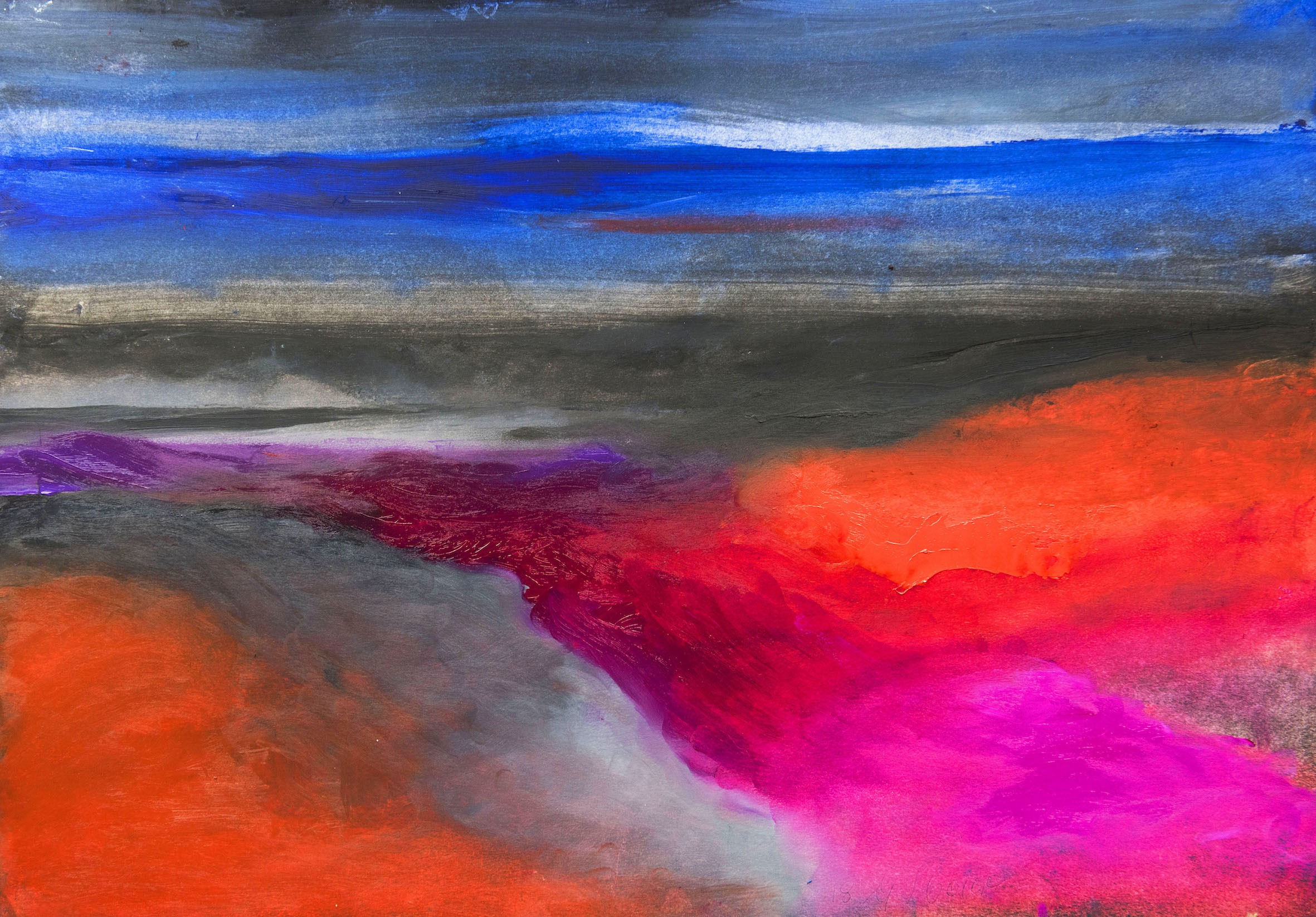 Glenys Cour 'Gower Dusk III' (41 x 56 CM) Oil on Paper