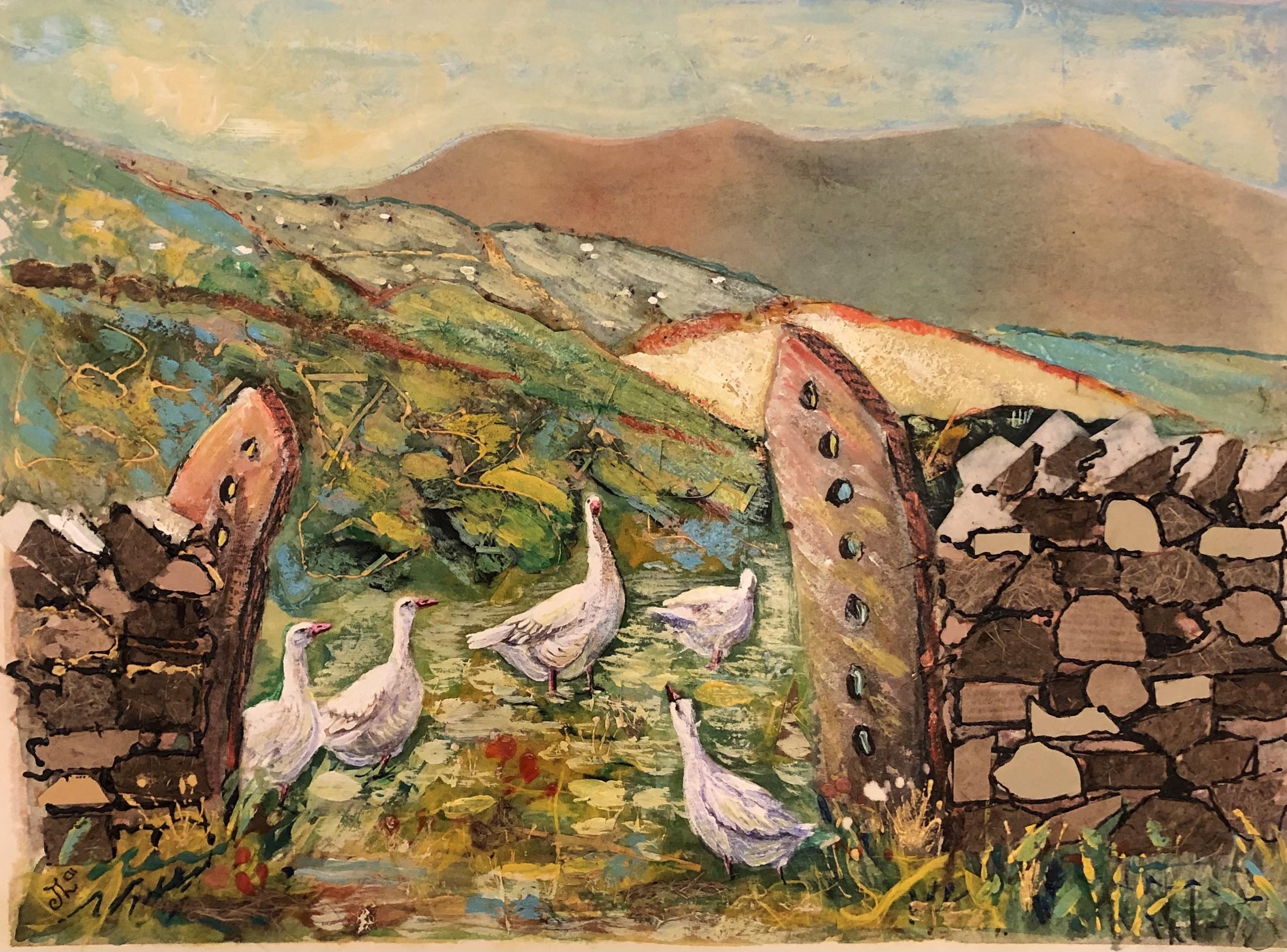 Geese at Harsop    Mixed Media     25.5 x 34 cm     (framed size 46 x 55 cm) White frame.  Dark green mount