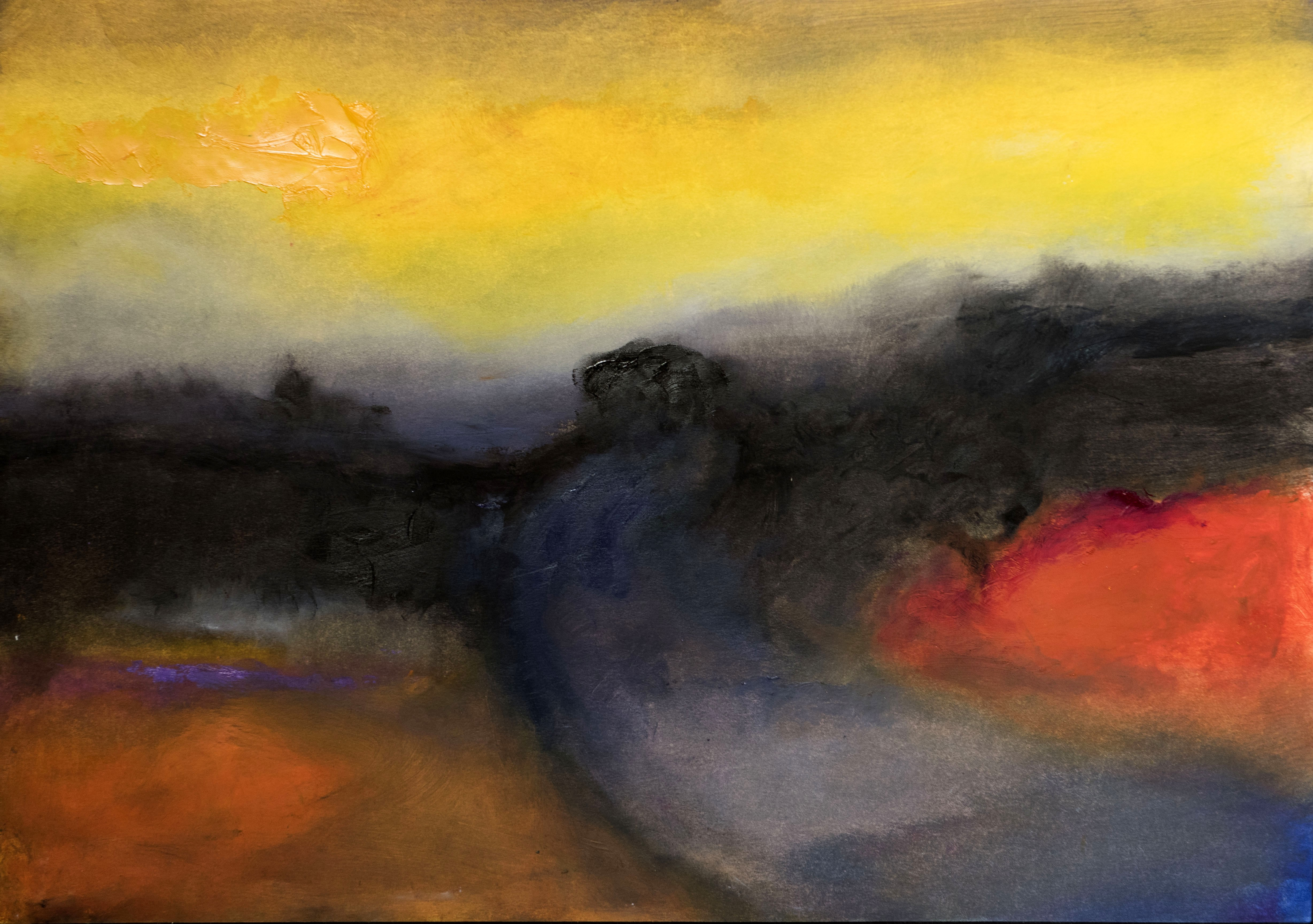 """Gower Dawn"" Oil on Paper 16"" x 22"""