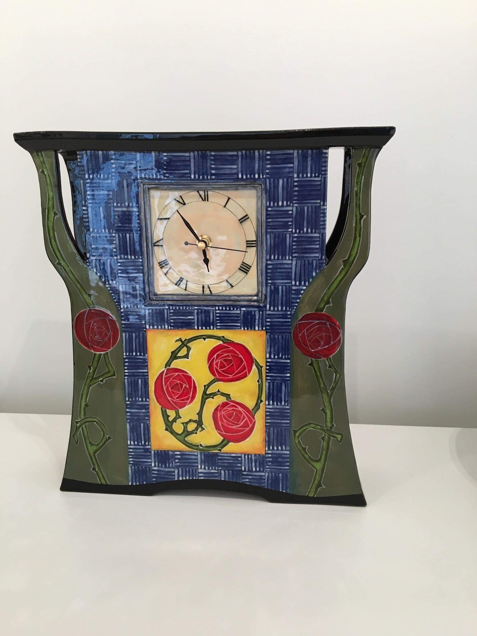 Ceramic Clock sculpture Arts and Crafts after William Morris