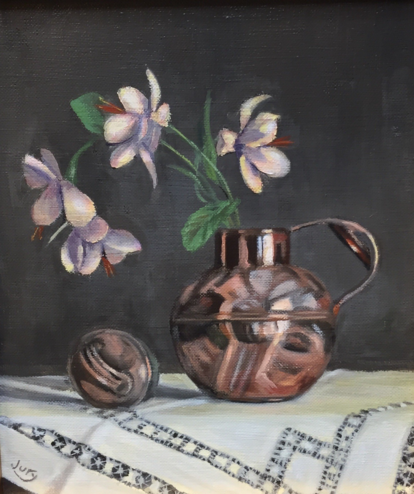 "Summer Show 2018 - ""Flowers in Victorian Cream Pail"" Oil on Canvas 11.5"" x 9"""