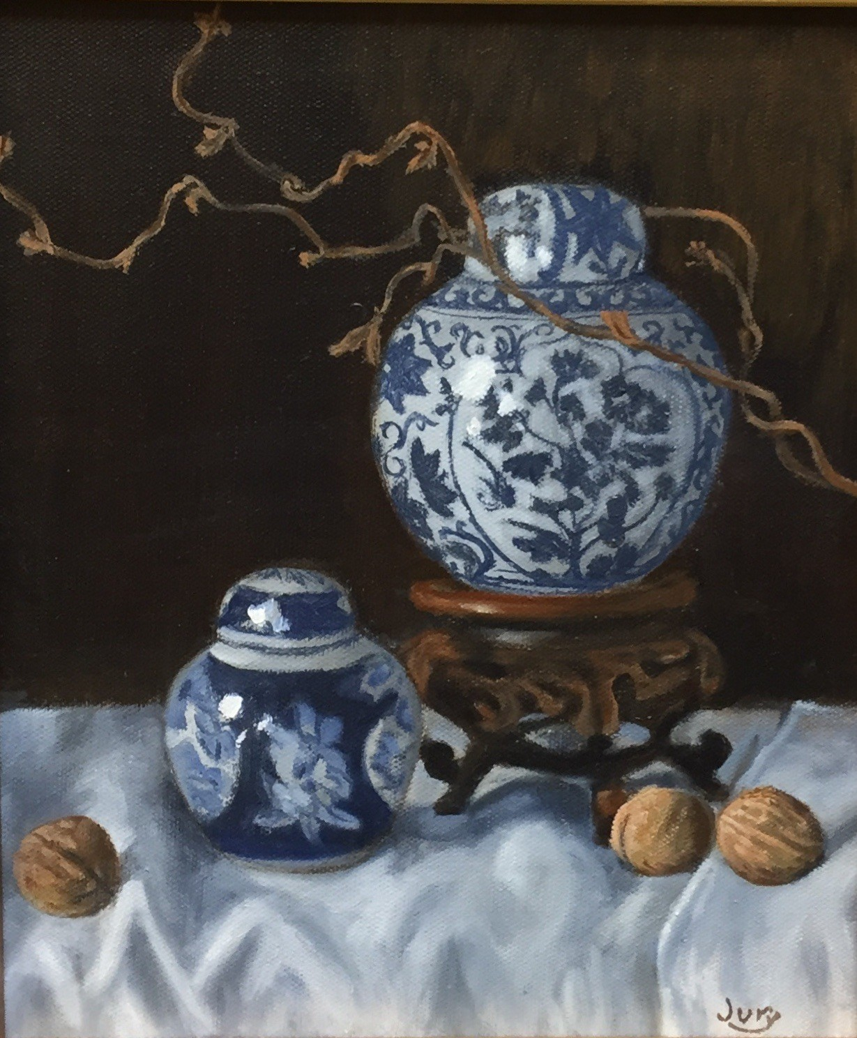 """Summer show 2018 """"Two Ginger Jars"""" Oil on Canvas 11.5""""X9.5"""""""