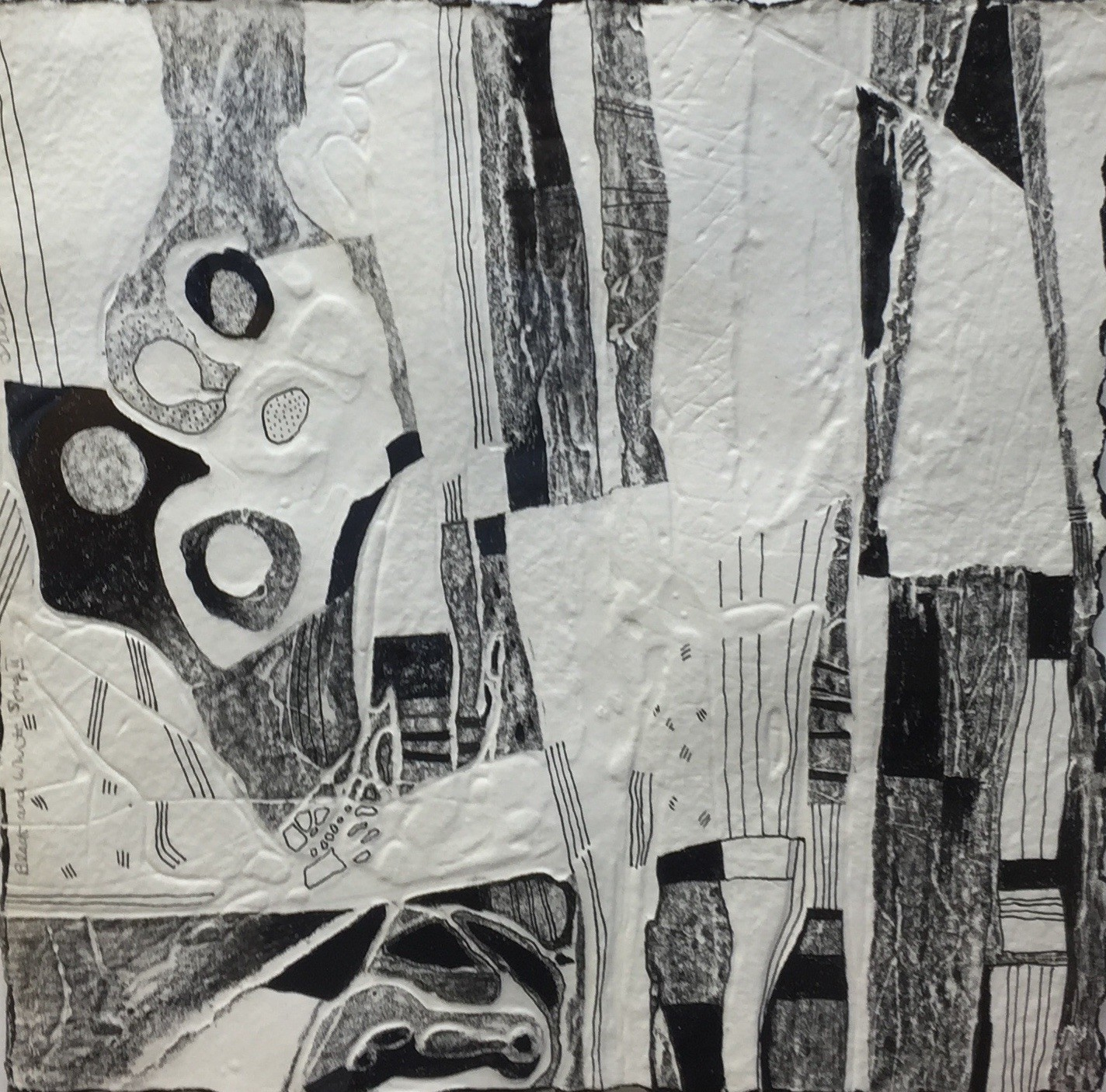 """Black and White song 1"" Embossed drawing (30 X28 cm)"