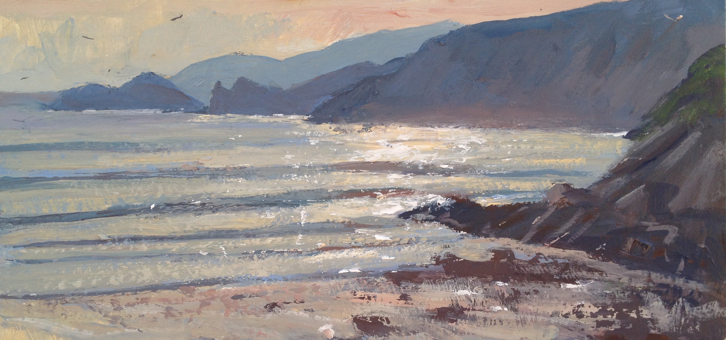 "Thomas Haskett ""Late Evening Newgale"" Oil on Board (12"" X 6"")"