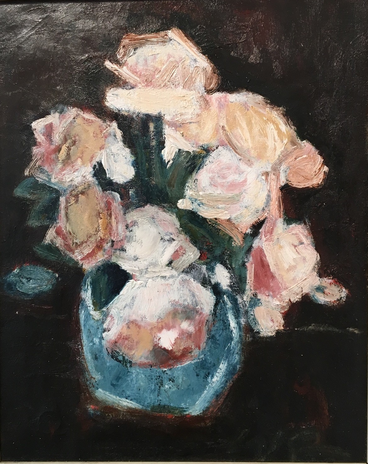 """Will Roberts """"Still Life Roses in a Jar"""" , Oil on Canvas, 20 x 24 ins"""