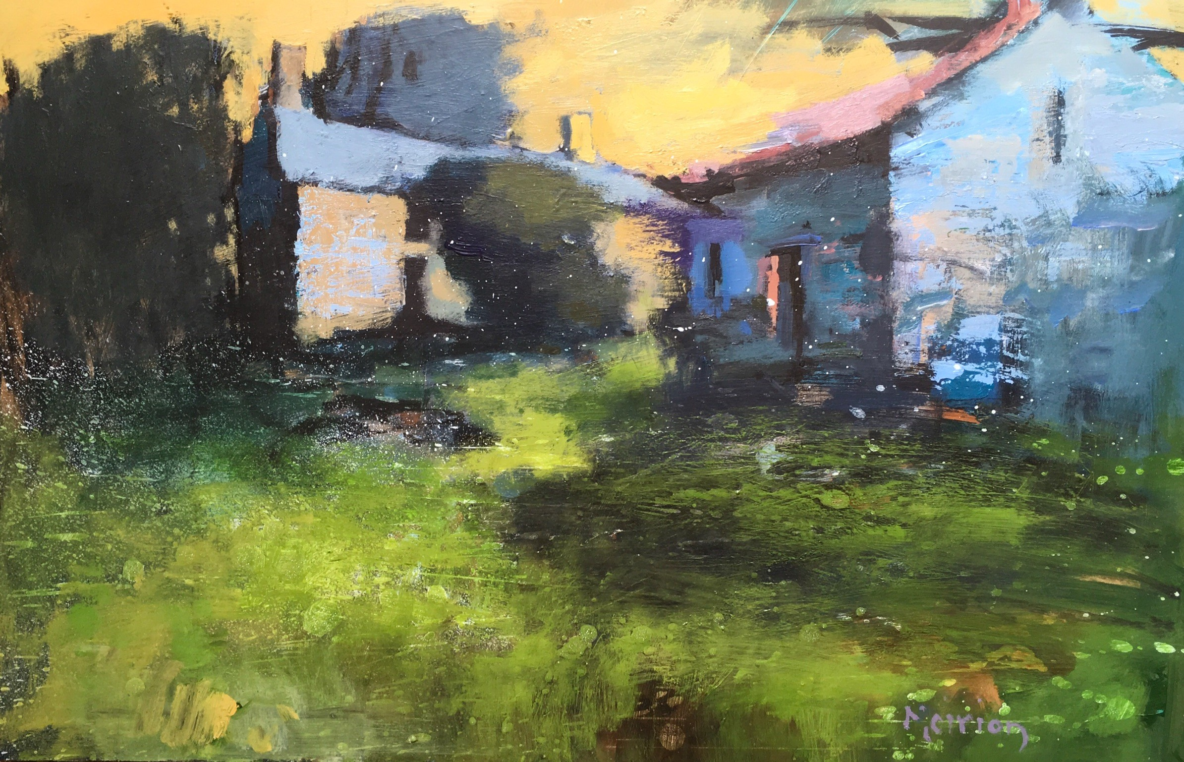 """Mierion Jones """"Abandoned Fam in West Wales"""", acrylic, (60 x 40 cm)"""
