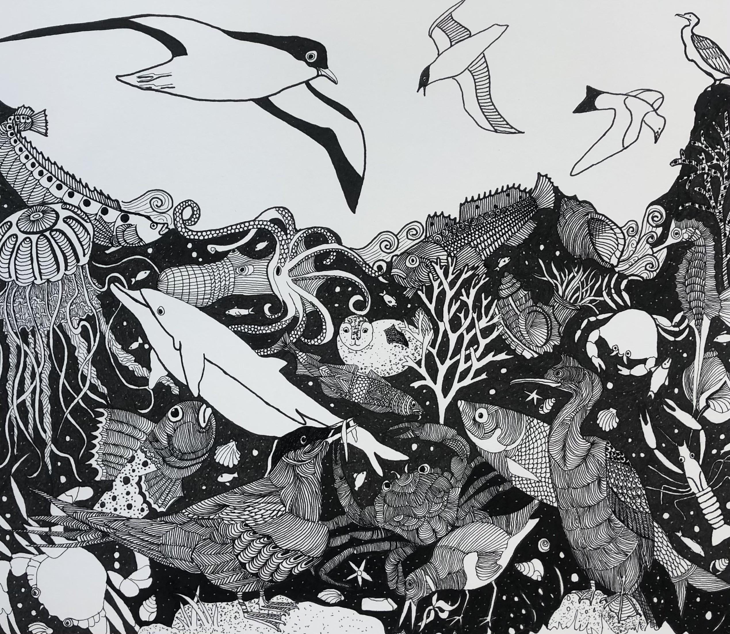Seascape II     Pen & Ink     24 x 28 cm   (framed size 37 x 41 cm) Black frame.   Off-white mount