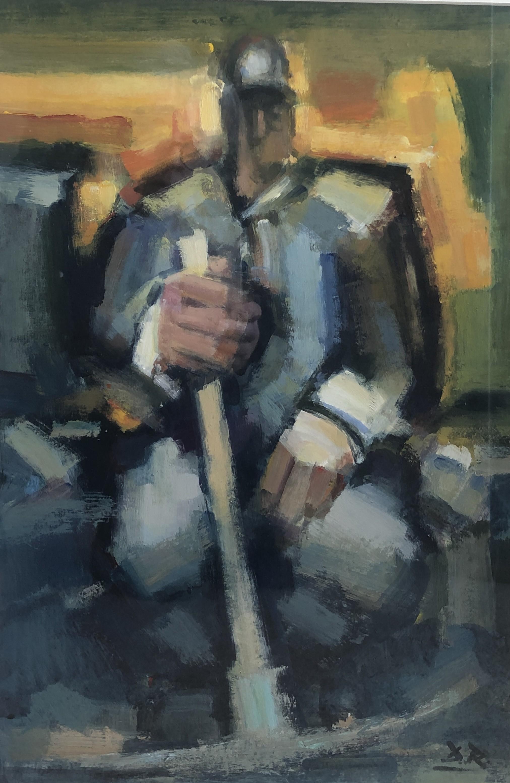 Miner with Pick     Acrylic     46 x 32  cm    (71 x 55.5 cm framed)
