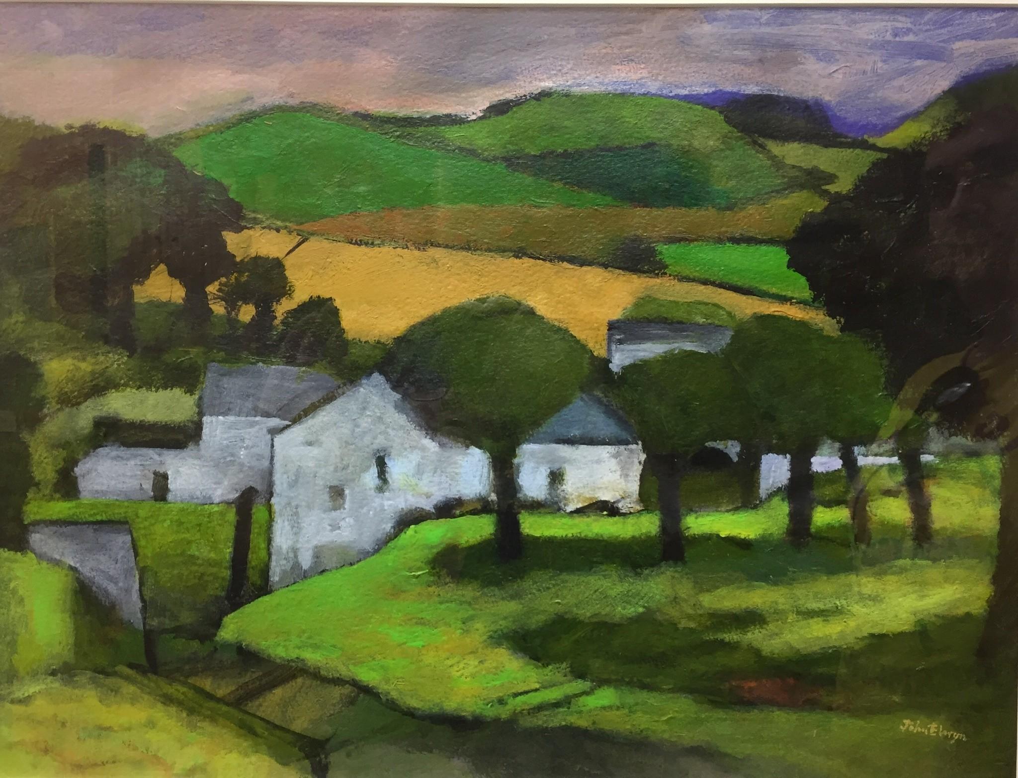 """John Elwyn """"Below Dyfed Hill"""" (14 X 19 Inches) Acrylic"""