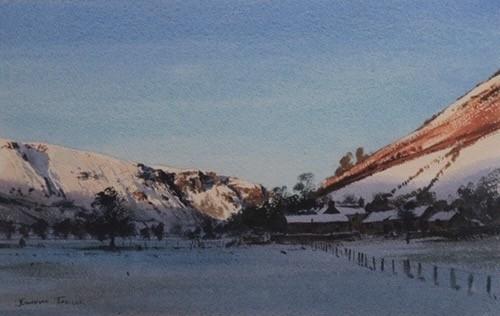 "Jonathan Taylor ""Mid Wales , December "" Watercolour (14"" x 8"")"