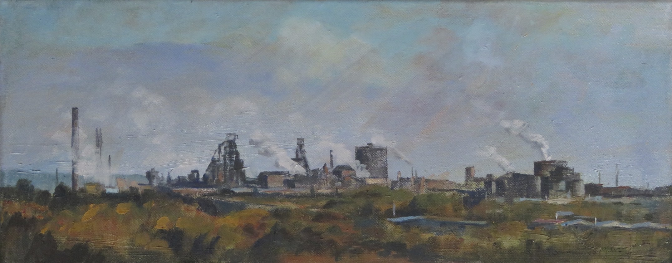 Port Talbot Panorama     20 x 45 cm   Watercolour