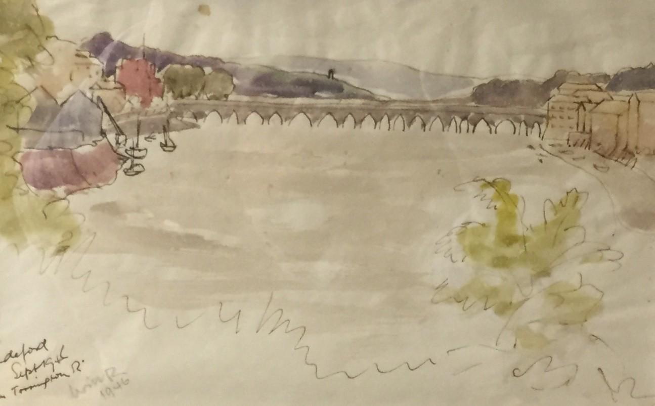 Bideford Bridge   17 x 26 cm    Watercolour