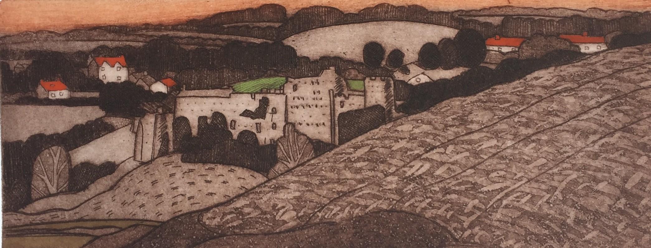 Manorbier Castle   Etching   Image size 9x22 cm   Paper size 15x33 cm