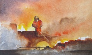 Steelworks Series No.38    19 x 31 cm    Watercolour   UNFRAMED