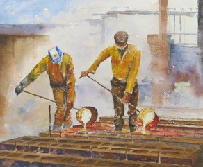 Steelworks Series No.35    20 x 50 cm    Watercolour   UNFRAMED