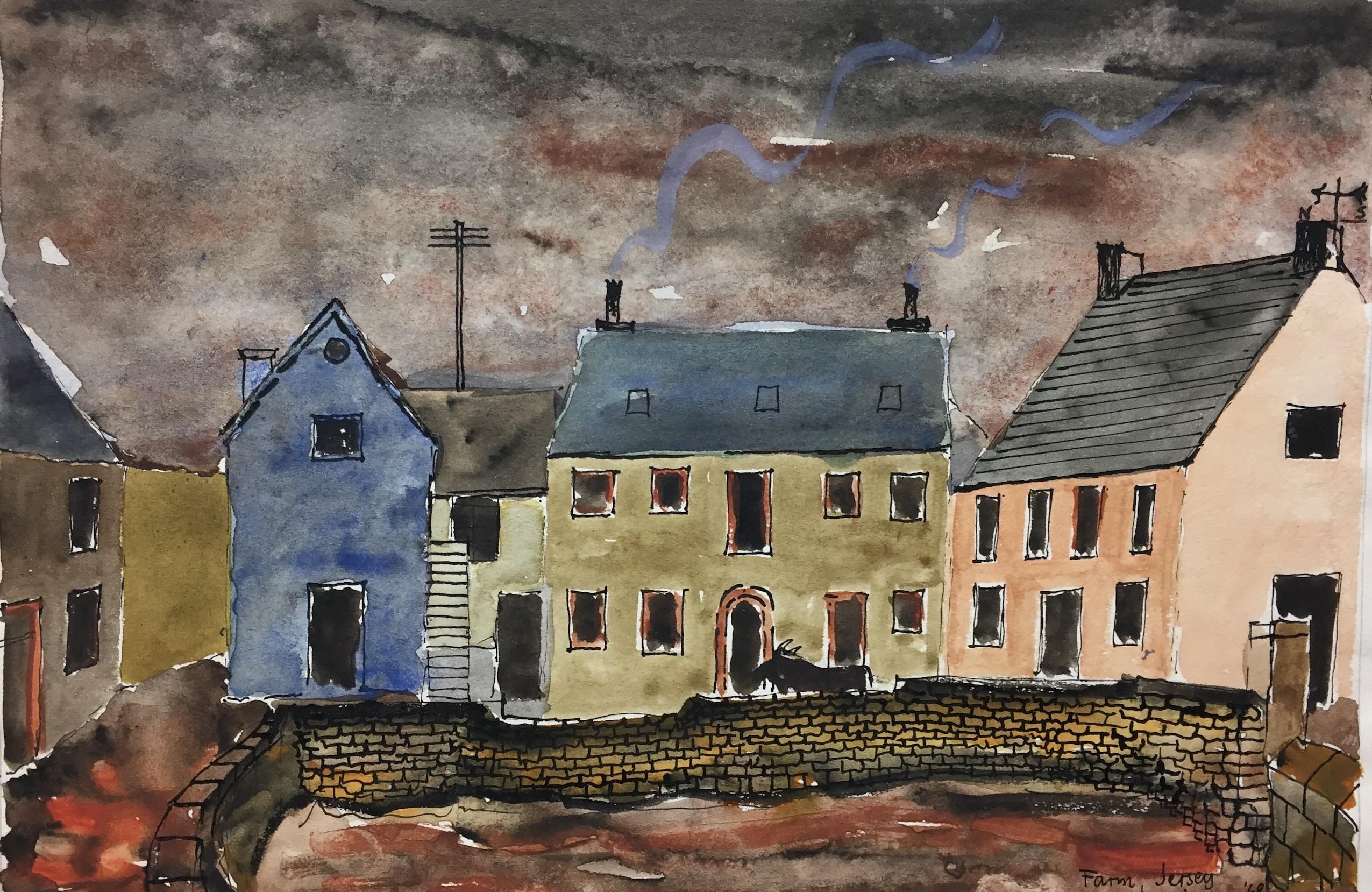 """Jack Jones """"Jersey Farmhouse""""1968 watercolour(15 x 20 cm)Mounted unframed"""