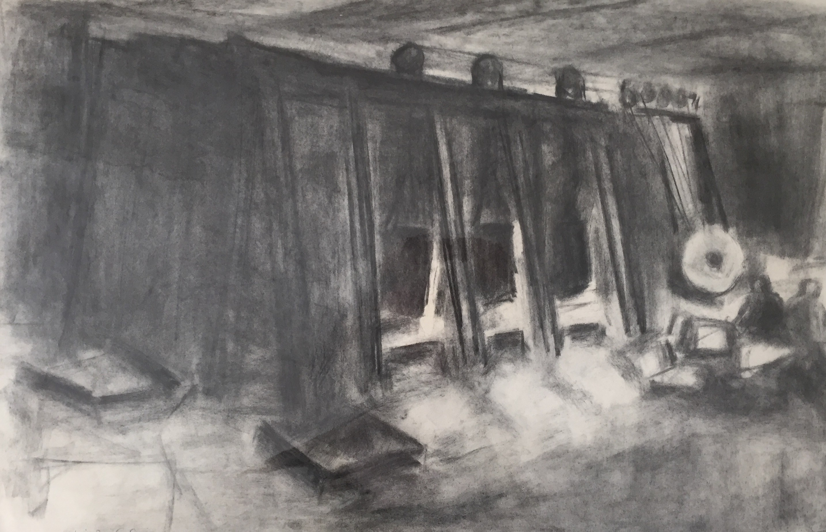 Interior of a Sheet Metal Factory, Gorseinon  20x30 ins   Charcoal