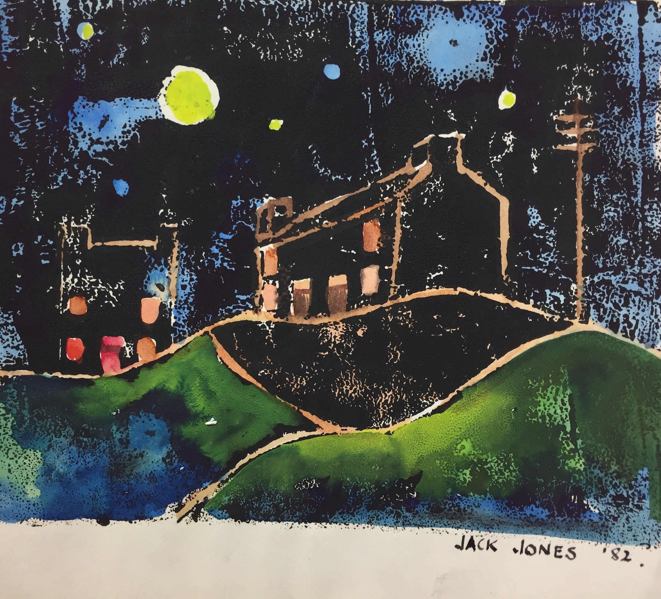 "Jack Jones ""Moonlight I""1982 Monoprint/Mixed Media (11.5 x 14 cm) Mounted unframed"