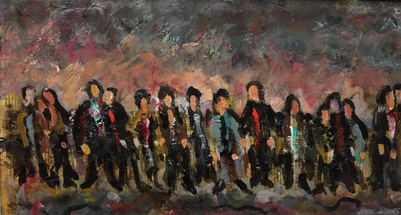 """16. Jack Jones  """"People in line 2* Oil (19 x 26 cm)"""