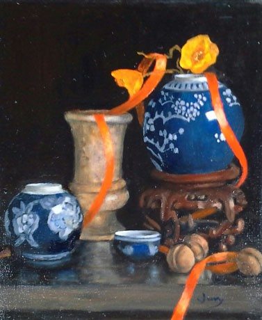Ginger Jar and Stand, oil, 12 x 10 ins