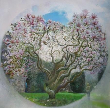 """Sara Philpott 4""""Magnolia Tree"""" (24 x 24 ins) Oil on Board"""