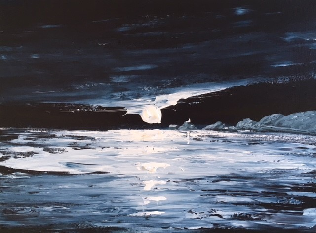 """14, Nick John Rees """"Mumbles lighthouse in the Moonlight''"""