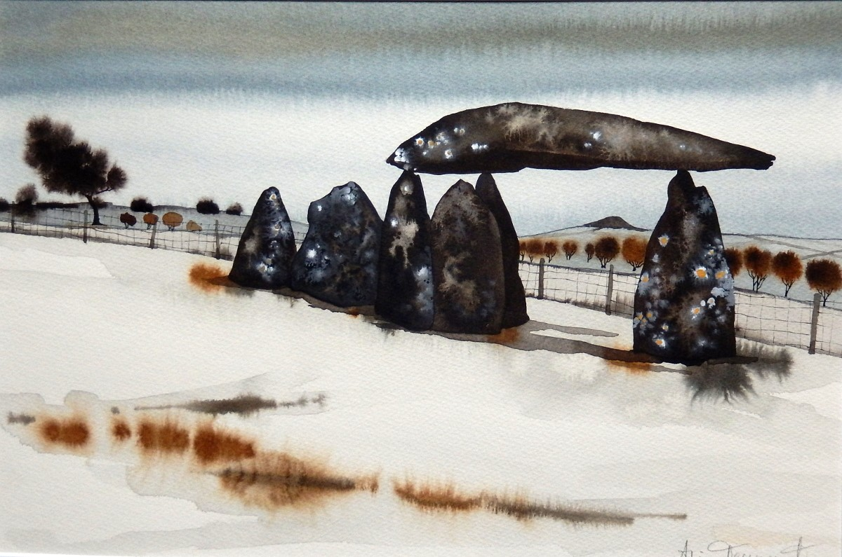 "Alice Tennant 'Pentre Ifan in the snow' (25"" x 19"") Mixed media"