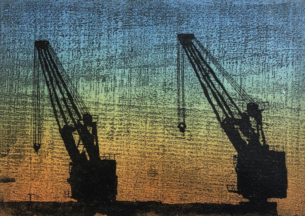 "Alan Roberts ""Swing Left"" Intaglio Etching 2/3 (12 X29 CM)"