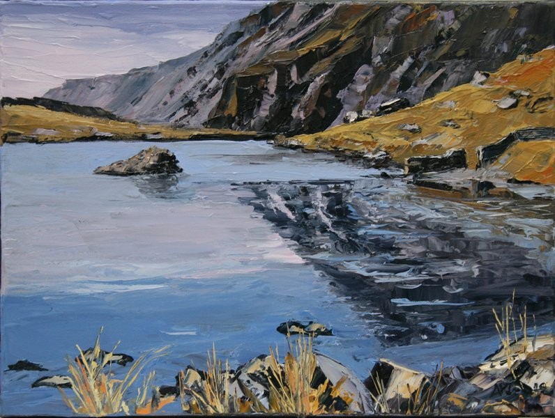 Reflections Llyn Idwal £400 40.5x30.5 cm oil on canvas