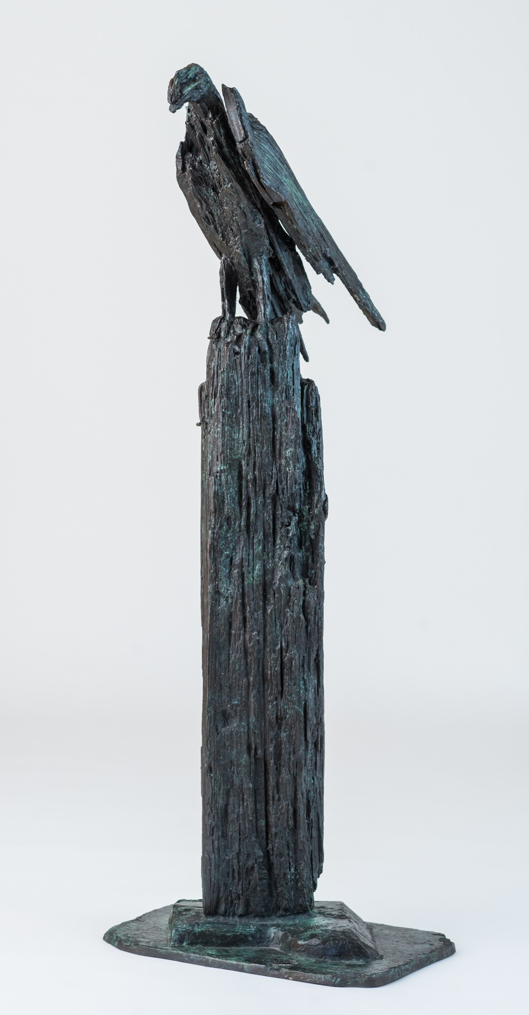 Upon a Rough Bark,  (after 'Hawk Roosting' by Ted Hughes),  H97 x W36 x D33cm,   Weight 30 Kg,  Bronze only edition of 9