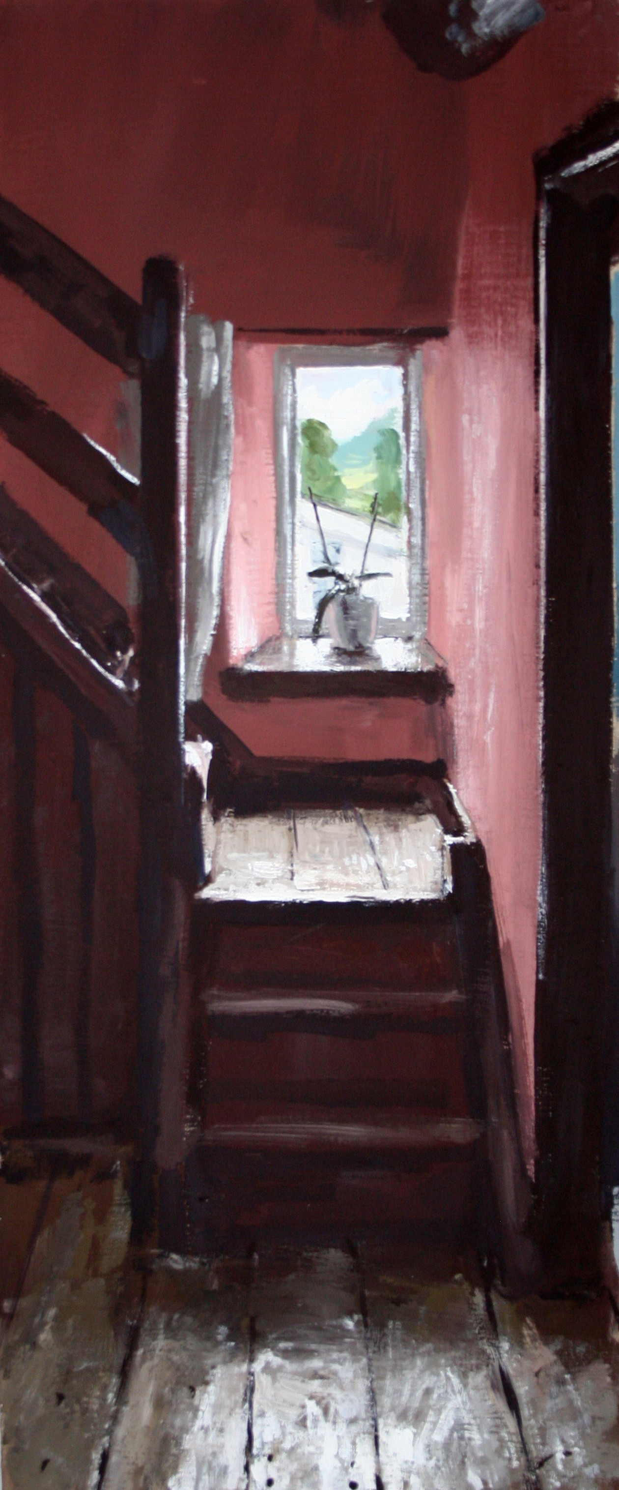 """Matthew Wood """"The Mill house, The back staircase"""" Gaouche on Board (35 x 15 cm)"""