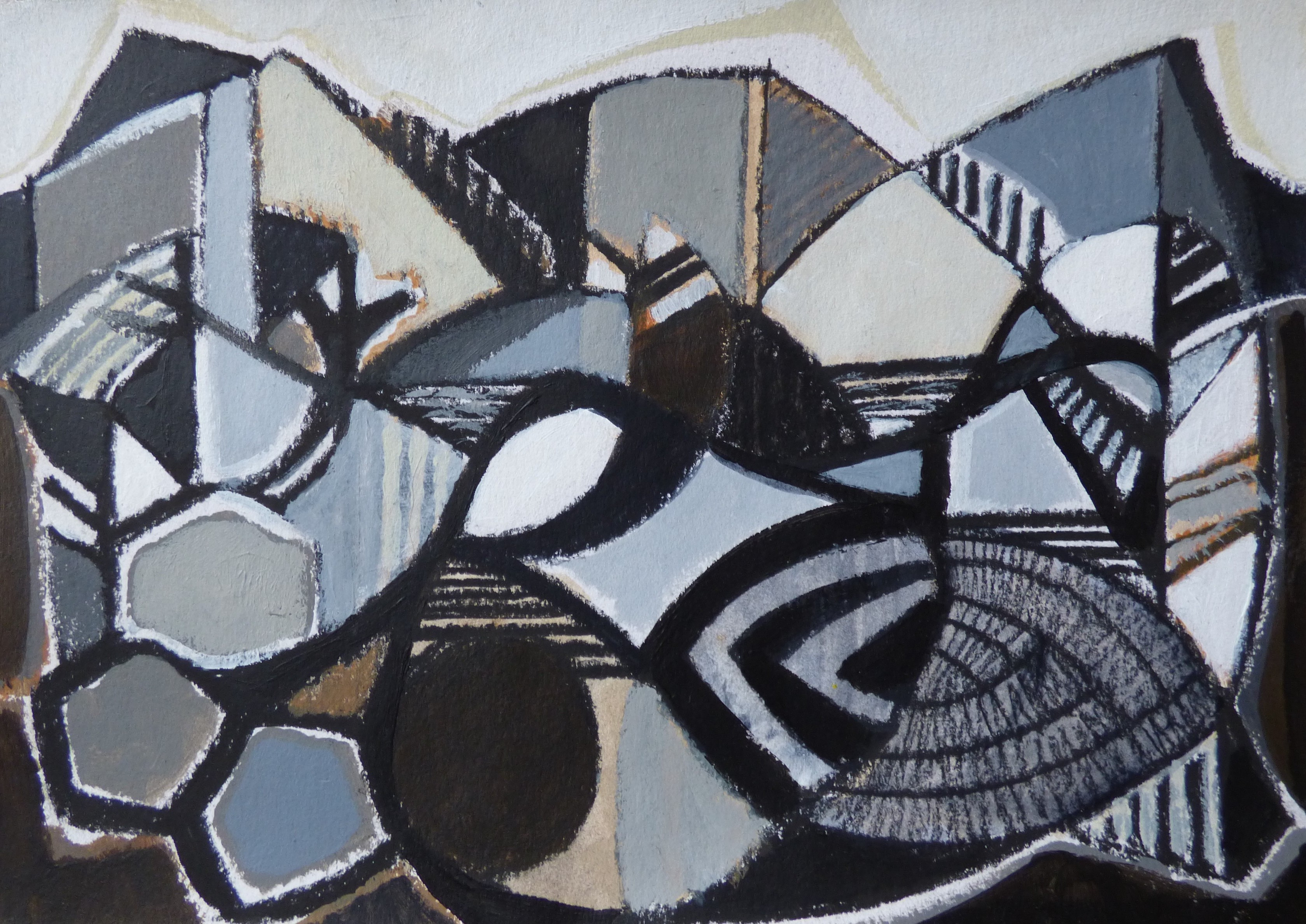 """Kathryn Le Grice 'Winter Valley, Study I' (5.75"""" x 8"""") Acrylic and Charcoal"""