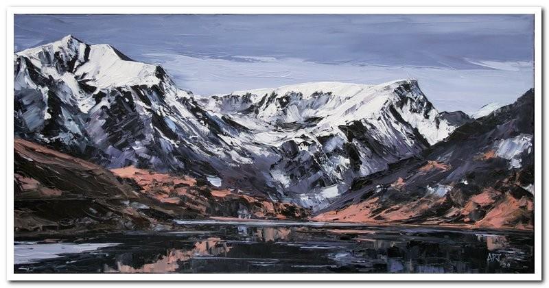 Winter Llyn Ogwen £1195 80x40cm. oil on canvas