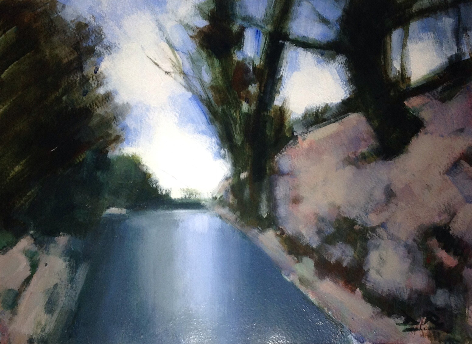 Winter on the Mountain Road   Acrylic    28 x 37 cm