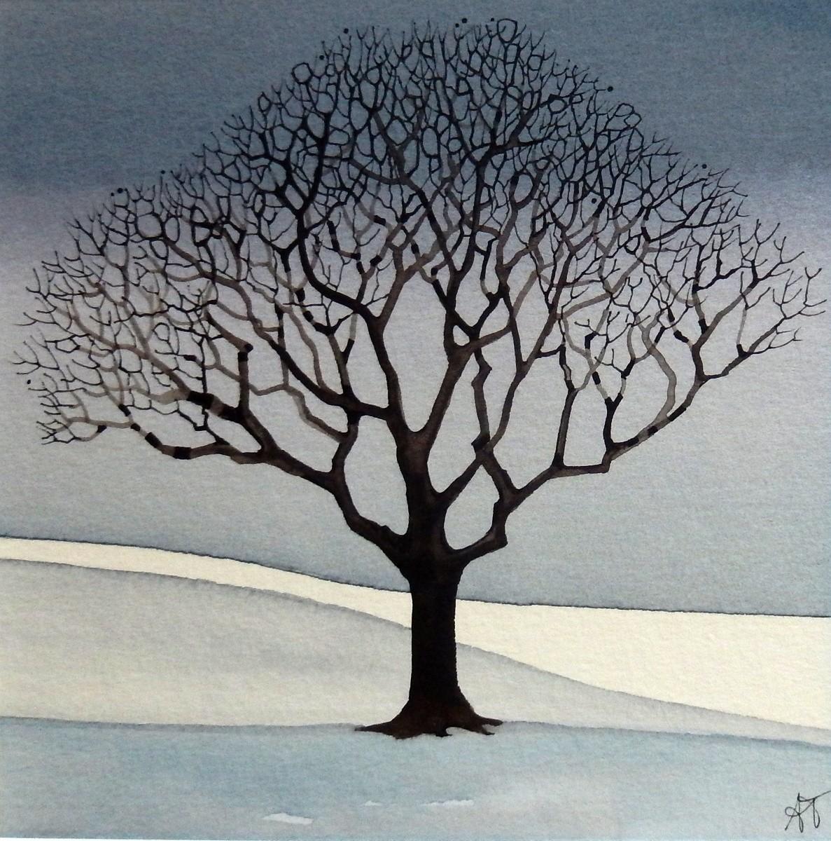 """Alice Tennant 'Winter Tree' (14"""" x 14"""") Mixed media"""